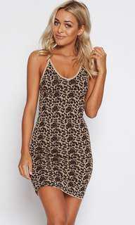Popcherry Size L(12) Brown Leopard Print Bodycon Dress