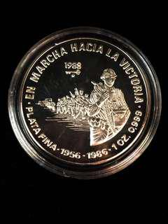 "1988 Cuba 10 30th Anniversary Revolution ""On the March to Victory"" 1956-1988 Political Theme Pure Silver 999 Proof-Struck Coin. Uncirculated Mint Condition. Ultra Rare."