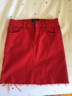 Bardot red denim skirt sz 6