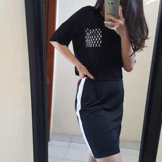 Rok A-line Black White Striped Garis