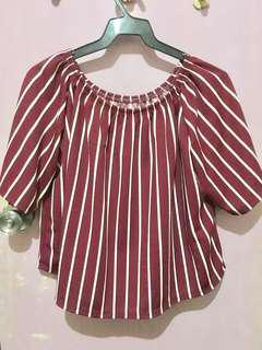 Plus size Stripe Off shoulder