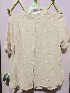 Plus Size Floral Polo - Pink
