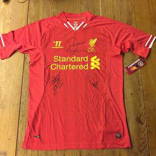 LIVERPOOL FC AUTOGRAPHED BY LEGENDS- JOHN BARNES, SMICER AND PATRICK BERGER