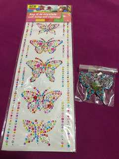 SAY IT IN CRYSTALS Butterfly Sticker and Fancy Butterfly Pendant