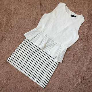 🚚 Peplum Striped Dress