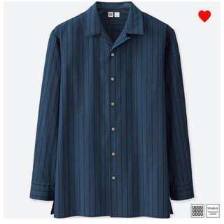 Uniqlo U Navy Blue Stripe Long Sleeve Shirt