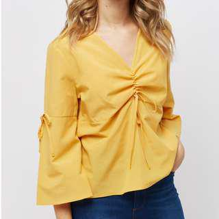 [Free Pos] Yellow Flared Sleeve Ruched Top