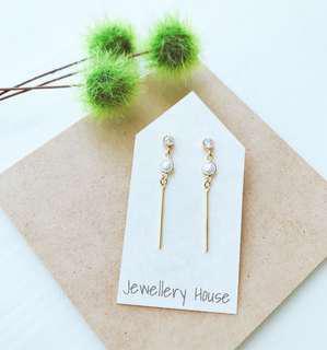 Handmade Pearl long dangling earrings