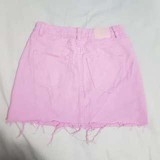 Pink Denim Skirt A Line