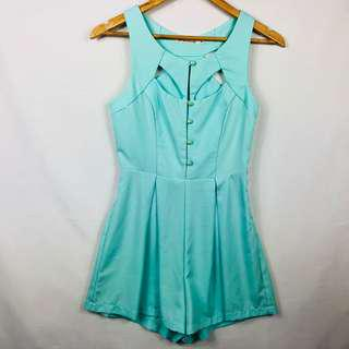 He Doesn't Know Why Play Suit Size 6 Jumpsuit One Piece Green Button Cut Out