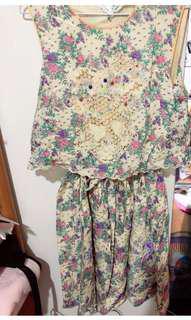 月熊家 Frenche Lippee 玫瑰花刺繡棉裙