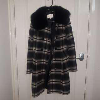 Black Fur Coat Detachable Fur