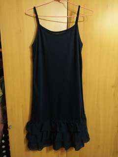 🚚 兩件免運。深藍色藏藍色柔軟蛋糕裙細肩帶內搭裙單穿洋裝睡衣