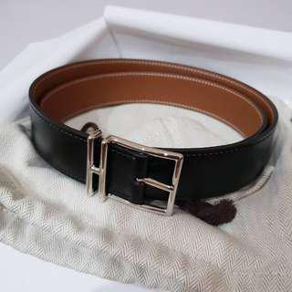 Brand New Hermes Nathan 32mm Belt, Black/Gold reversible. PHW, Size 95