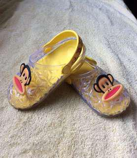 9/10 Paul Frank Yellow jelly baby / toddler / kids boy / girl / gals jelly sandals shoes 15cm