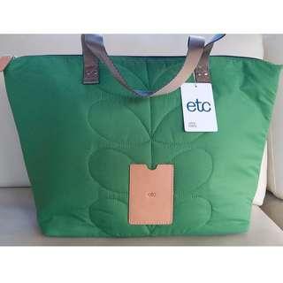 Orla Kiely Green Stem beach shopping nylon tote Handbag Shoulder Bag