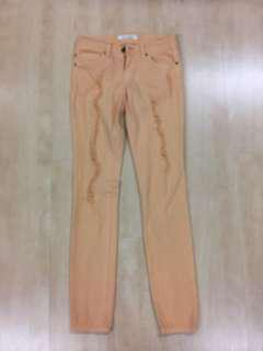 Coral Ripped Skinny Pants