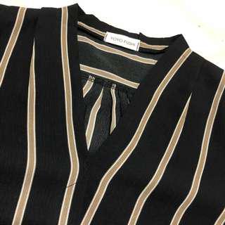 Yoyo Fushi   Black w Brown Stripes Blouse