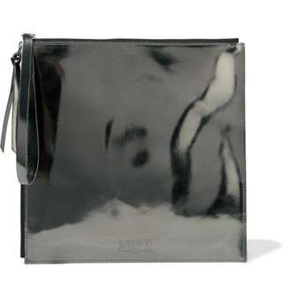 MM6 Masion Margiela Embossed metallic faux Leather Pouch