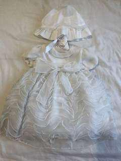 Baby Christening Dress and Hat Set