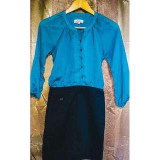 Candies Office Dress (Blue Green) - Fits S