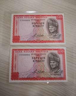 🇲🇾 Malaysia 4th Series RM10 Banknote~2pcs Consecutive Pair