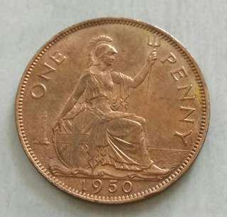 Britain 1950 Better Date Penny Unc Coin With Mint Red