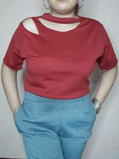 Plus size cut out  blouse