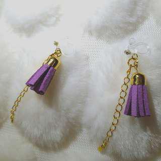 🚚 👑紫色流蘇耳夾
