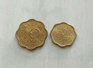 Ceylon 1951 2 Cents And 10 Cents Coins Unc With Luster