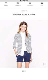 🚚 Jcrew striper blazer maritime