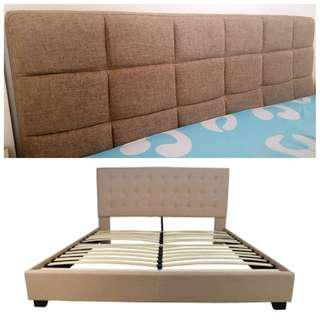 Queen size bed frame with salem bed almost new!