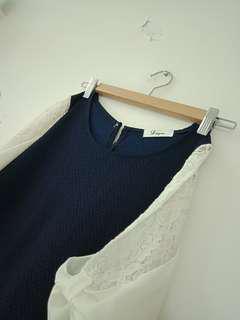 🚚 氣質風 藍色 設計 袖 上衣
