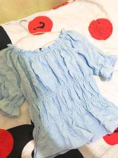 ❤️粉藍色束腰小公主袖衫