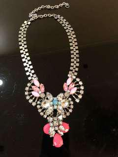 Free delivery- necklace with pink and diamond details