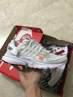 US 9 Off White Nike Air Presto White