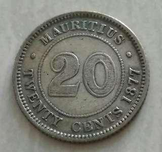 Mauritius 1877H 20 Cents Silver Coin With Good Details
