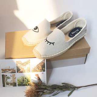 Soludos 眨眼刺繡草編鞋 休閒鞋