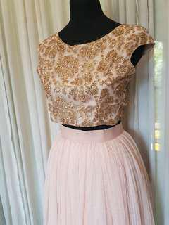 Gold and Peach 2-piece Backless Gown FOR RENT