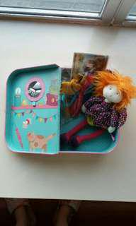 Moulin  Roty Les  Coquettes Marinette Rag Doll in her Travel Suitcase