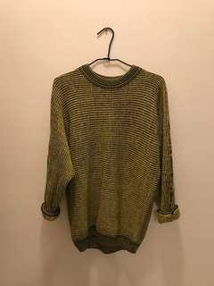 🚚 老品 古著 黃綠色毛衣