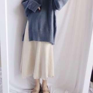 白色 下擺破壞 針織圓裙