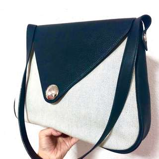 Authentic Hermes Christine In Navy Leather and Toile