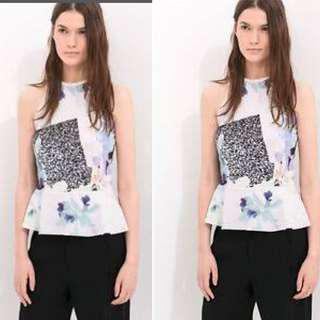 ZARA Abstract Print Peplum Top (NEW without TAG)