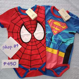 Baby Romper Superman and Spiderman Onesie with Free Bonnet