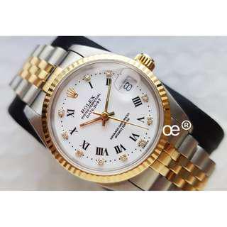 Rolex Datejust Mid Size Half Gold 68273 Diamonds (Size: 31mm)