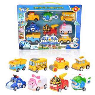 8 in 1 Robocar Poli P5 Pull Back Robot Racing Car Toy Vehicle Toys Set