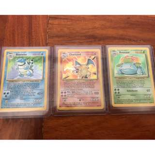 Pokemon Card Base Set Charizard, Blastoise, and Venusaur