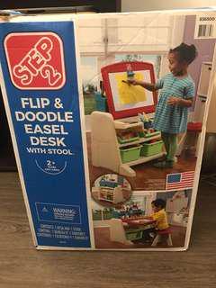 Flip & doodle easel desk with stool