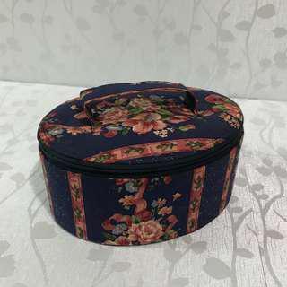化妝箱 復古 歐洲風 暗花 橢圓形